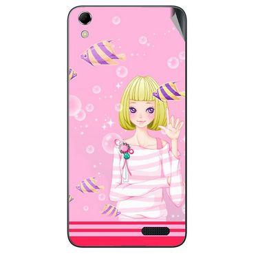 Snooky 42136 Digital Print Mobile Skin Sticker For Intex Aqua Q3 - Pink