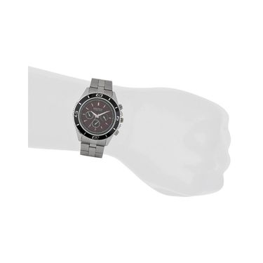 Exotica Fashions Analog Round Dial Watches_E08st9 - Black & Maroon