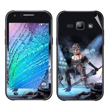 Snooky 48315 Digital Print Mobile Skin Sticker For Samsung Galaxy J1 - Blue