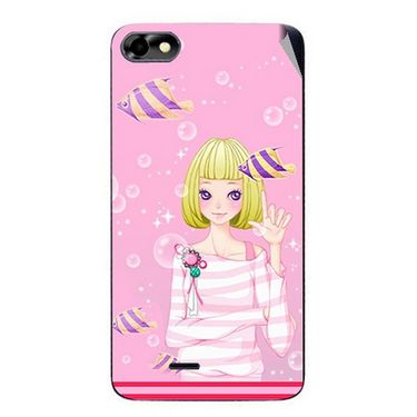 Snooky 42807 Digital Print Mobile Skin Sticker For Micromax Bolt D321 - Pink