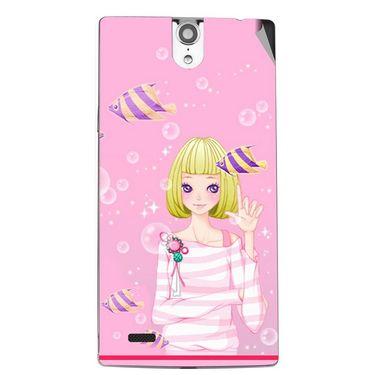 Snooky 43082 Digital Print Mobile Skin Sticker For Xolo Q1010i - Pink