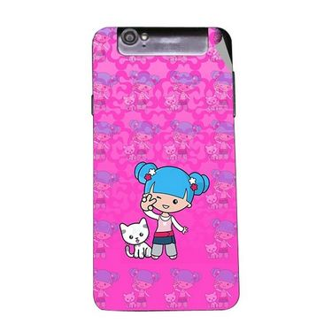Snooky 43133 Digital Print Mobile Skin Sticker For Xolo Q3000 - Pink