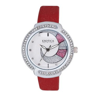 Exotica Fashions Analog Round Dial Watch For Women_Efl27w52 - White & Silver