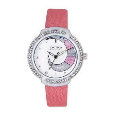Exotica Fashions Analog Round Dial Watch For Women_Efl27w51 - White & Silver