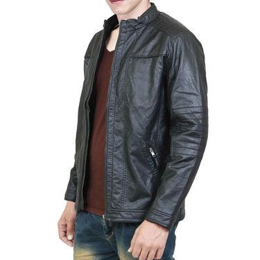 Branded Leatherite Jacket_Os14 - Black