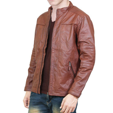 Branded Leatherite Jacket_Os15 - Brown