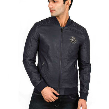 Branded Faux Leather Leather Jacket_Os17