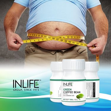 INLIFE Green Coffee Bean Extract 60 Veg Caps 50% Chlorogenic Acid For Weight Loss