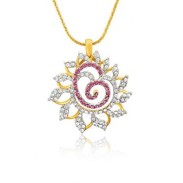 Mahi Gold Plated Swarovski Elements Pendant Set_Nl1104129gpinwhi