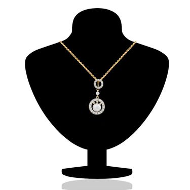 Branded Gold Plated Crystal::Pearl Pendant Set_Nl2101964g
