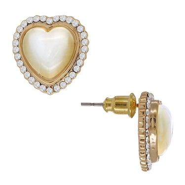 Spargz Heart Shape Pearl Earring_Aier252 - White