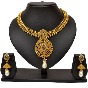 Pourni Gorgeous Golden Pearl Necklace Earring Jewellery Set_Prnk05