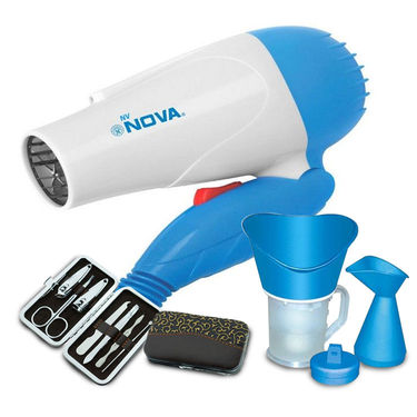 Nova Women Hair Dryer, 7pcs Manicure kit and Steamer Cum Vaporizer