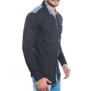 Brohood Slim Fit Full Sleeve Cotton Shirt For Men_A5023 - Black