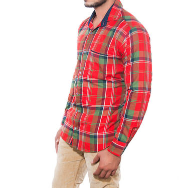 Brohood Slim Fit Full Sleeve Cotton Shirt For Men_A5024 - Red