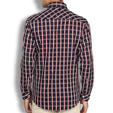 Brohood Slim Fit Full Sleeve Cotton Shirt For Men_A50130 - Pink & Black