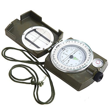 ZINGALALAA Foldable Army Liquid Filled Prismatic Compass with Gradienter Auto Navigation Device ( Green Black HUI-39527 )