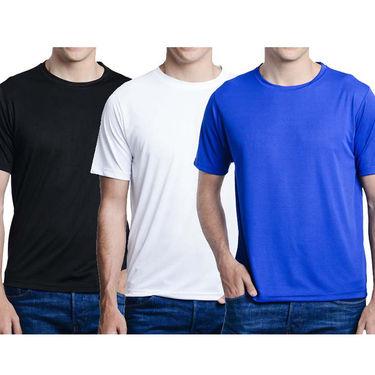 Pack of 3 Oh Fish Plain Round Neck Tshirts_Df3blkwhtblu