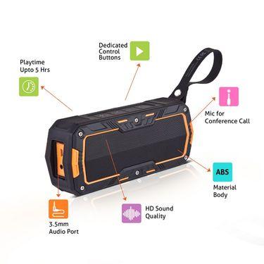 Envent Water & Impact Resistant Bluetooth Portable Speaker LiveFree 530 - Orange