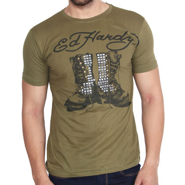 Branded Cotton Slim Fit Tshirt_Edhdg06 - Dark Green