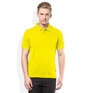 Plain Comfort Fit Blended Cotton TShirt_Ptyl - Yellow