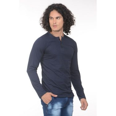 Plain Comfort Fit Blended Cotton TShirt_Htvrdb - Dark Blue