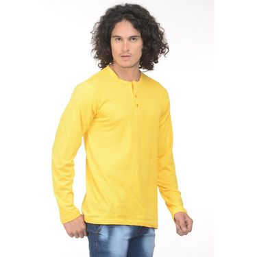 Plain Comfort Fit Blended Cotton TShirt_Htvry - Yellow
