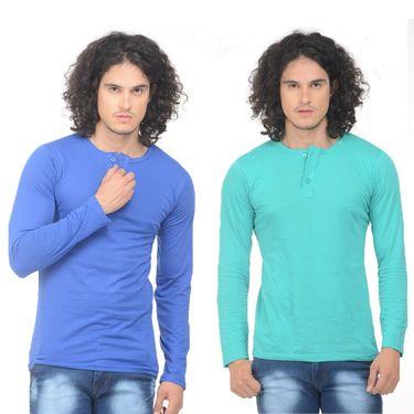 Pack of 2 Plain Regular Fit Tshirts_Htvrblg - Blue & Sea Green
