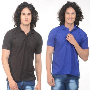 Pack of 2 Plain Regular Fit Tshirts_Ptgdbkb - Black & Blue