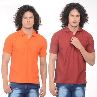 Pack of 2 Plain Regular Fit Tshirts_Ptgdom - Orange & Maroon