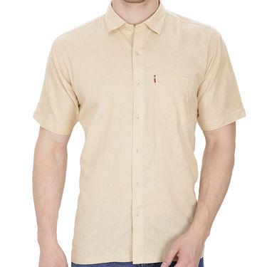 Fizzaro Plain Half Sleeves Stylish Shirt For Men_Fzls107 - Beige