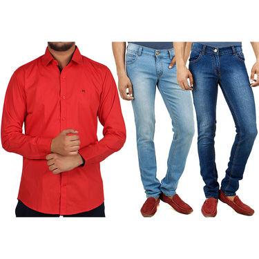 Combo of 2 Yellow Tree Cotton Denim + 1 Cotton Shirt_Osj04