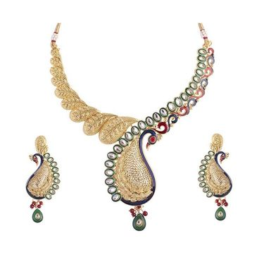 Kriaa Mithya Peacock Design Kundan Blue Meenakari Necklace Set_2000508