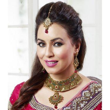 Kriaa Mithya Choker Design Pink & Green Pota & Austrian Diamond Stone Necklace Set with Maang Tikka_2000511