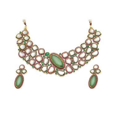 Kriaa Mithya Attractive Design Pink & Green Austrian Stone Necklace Set_2000512