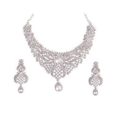 Kriaa Mithya Classy Design Rhodium Finish Silver Stone Necklace Set with Maang Tikka_2000524
