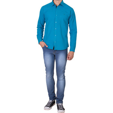 Branded Full Sleeves Cotton Shirt_R12kturq - Blue