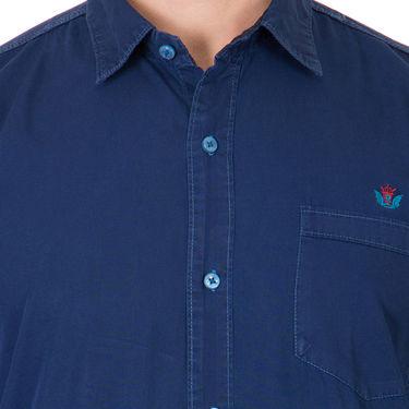 Branded Full Sleeves Cotton Shirt_R25knblu - Blue