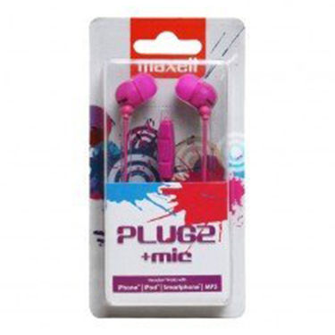 Maxell Plugz with Mic In Ear Earphones for Mobile/iPod/Music Player (Purple)