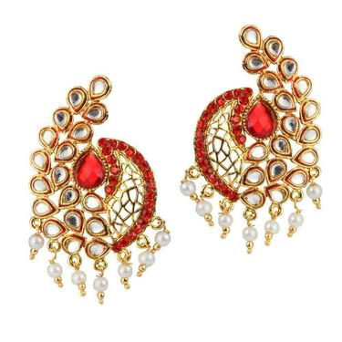 Kriaa Meenakari Kundan Pearl Kundan Earrings _1303765