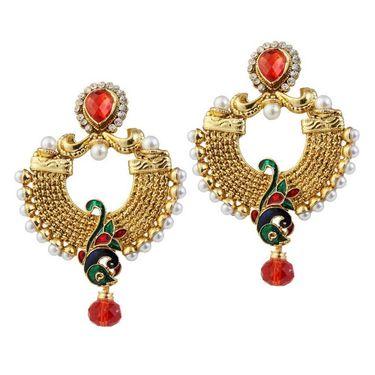 Kriaa Austrian Stone Pearl Drop Peacock Earrings_1303772