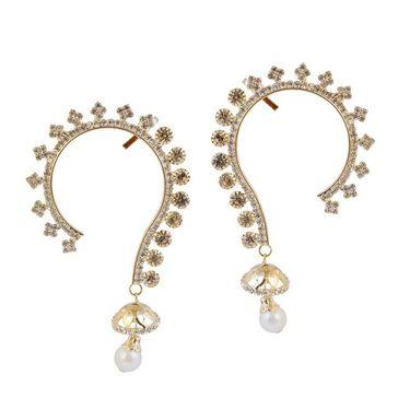 Kriaa Pearl Drop Austrian Stone Pair Ear Cuff _1303813