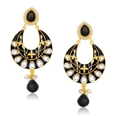 Kriaa Kundan Meenakari Circle Drop Earrings _1305401