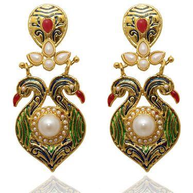 Kriaa Meenakari Pearl Peacock Finish Earrings _1305403