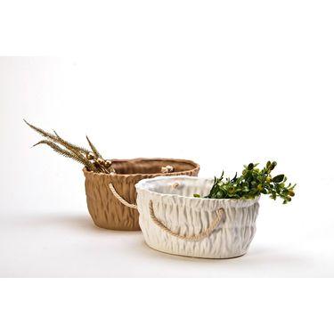Ceramic Big Oval basket - white/Brown-1307-1163