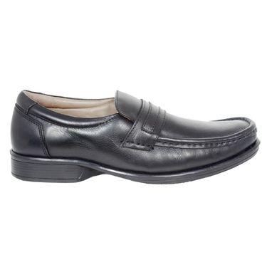 Delize Leather+Canvas Formal Shoes 25691-Black