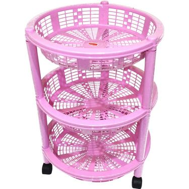 Princeware Maria 3 Rack Big Trolley-Pink_2783-3RPK