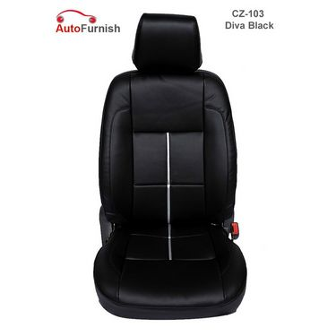 Autofurnish (CZ-103 Diva Black) Hyundai Verna Type 1 (2006-14) Leatherite Car Seat Covers-3001567