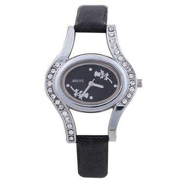 Adine Round Dial Analog Wrist Watch For Women_42bb017 - Black