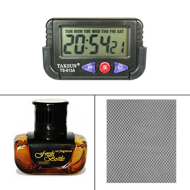 Speedwav 3 in 1 Car Dashboard Combo of Digital Clock , Anti-slip Dashboard Mat and Fresh Bottle Amber Car air freshner_47564